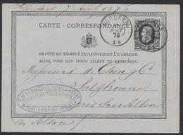 """EP Au Type 10ctm Noir Obl Double Cercle """"Roulers"""" 8/8/1876 Vers Salzbronne Près De SaarAlben (Alsace - France) - Enteros Postales"""