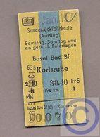 Fahrkarte (Bundesbahn) - Soderrückfahrkarte Basel - Karlsruhe - Europa