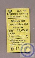 Fahrkarte (Bundesbahn) - Gesell.-Sonderzug München - Landshut 1975 - Bahn