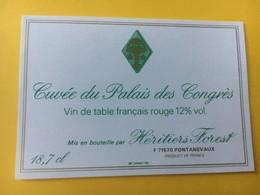 8598 - Cuvée Du Palais Des Congrès Vin De Table 18,7 Cl Petite étiquette - Etiquettes