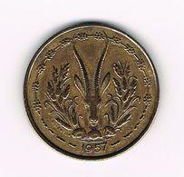 -&  FRENCH WEST AFRICA  25 FRANCS  1957 - Centrafricaine (République)