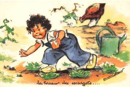 "¤¤   -   ILLUSTRATEUR  "" Germaine BOURET ""  - Carte Moderne  -  Poule , Escargots     -   ¤¤ - Bouret, Germaine"