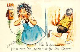 """¤¤   -   ILLUSTRATEUR  """" Germaine BOURET """"  - Carte Moderne  -  Feu , Téléphone     -   ¤¤ - Bouret, Germaine"""