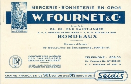 CARTE DE VISITE MERCERIE BONNETERIE EN GROS FOURNET & CIE BORDEAUX - AVIS DE PASSAGE - Cartes De Visite