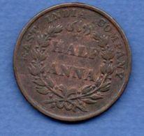 East India Compagny  -  Half Anna 1835  --  Km # 447.1  --  état  TB+ - Inde