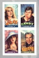 CANADA Mary Pickford, Fay Wray, Lorne Greene Et John Candy. Les Canadiens à Hollywood. 4 Timbres Autoadhésifs Neufs **. - Film