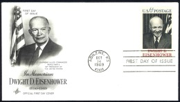 USA Sc# 1383 (ArtCraft) FDC Single (d) (Abilene, KS) 1969 10.14 Dwight David Eisenhower - Premiers Jours (FDC)