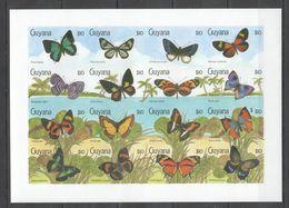 N548 !!! IMPERFORATE GUYANA FLORA & FAUNA BUTTERFLIES 1SH MNH - Schmetterlinge