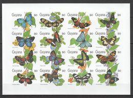 N549 !!! IMPERFORATE GUYANA FLORA & FAUNA BUTTERFLIES 1SH MNH - Schmetterlinge