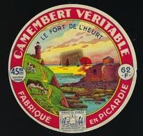 """Ancienne étiquette Fromage Camembert """"le Fort De L'heurt"""" Fabriqué En Picardie Laiterie De Verton 62 F """"Pas De Calais"""" - Cheese"""