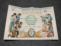 RARE PORTUGAL CHRISTMAS CIRCULATED TELEGRAMME MARCONI CANCEL 1960 - Covers & Documents