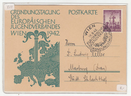 Germany, Gründungstagung Des Europäischen Jugendverbandes 1942 Wien Special Pmk & Illustrated Postkarte Travelled - Briefe U. Dokumente