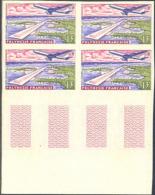 French Polynesia (1960) Papeete Airport. Imperforate Margin Block Of 4.  Scott No C28, Yvert No PA5. - Sin Dentar, Pruebas De Impresión Y Variedades