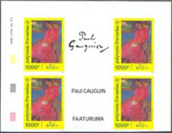"""French Polynesia (1994) """"Faaturuma""""*. Imperforate Corner Block Of 4 With Central Vignette. Gauguin Painting. Scott No 64 - Non Dentellati, Prove E Varietà"""
