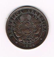 -&  ARGENTINA  2 CENTAVOS 1884 - Argentine