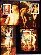 Liberia (1985) ]Paintings Of Nudes By Rubens. Set Of 7 Cromalin Proofs (6 Consisting Of The Sheetlets Mentioned In Scott - Liberia