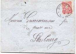 "FRANCE : 10 PFENNIGE . OBL FER A CHEVAL . DE "" DIEZE"" . POUR STRASBOURG . 1877 . - Postmark Collection (Covers)"