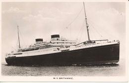 Postcard RPPC White Star Liner Steamer Ship MV Britannic Unposted - Steamers