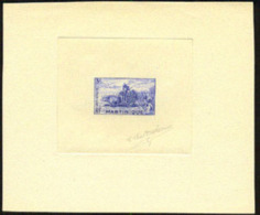 Martinique (1947) Gathering Sugar Cane. Oxcart. Die Proof In Blue Signed By The Engraver DUFRESNE.  Scott No 225, Yvert - Martinique (1886-1947)