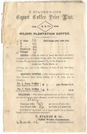 Coffee Trade Export Coffee Price List X Italy Customers By Nilgiri Plantation In Coimbatore Madras Presidency 4mar 1906 - Caffé