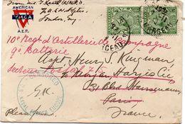 """FRANCE : GUERRE. TIMBRE DE GB . OBL . DE PARIS . CENSURE . """" US NAVAL FORCES EUROPE """" . 1918 . - WW I"""