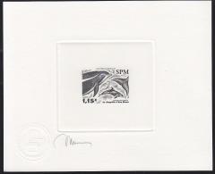 SPM (2005) White-beaked Dolphin (Lagenorhynchus Albirostris). Die Proof In Black Signed By The Engraver MIERMONT.  Scott - Sin Dentar, Pruebas De Impresión Y Variedades