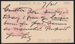 U.S.A. (1893) Smith At Anvil. Hand Pointing To Clasp. 1c Postal Card With Illustrated Ad From George L. Smith & Co, - ...-1900