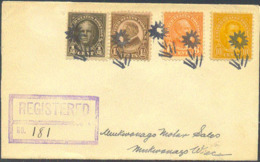 U.S.A. (1929) Flower. Fancy Cancel From Genesee Depot, Wisconsin.  Five Strikes In Black On Registered Envelope. Not A C - Postal History