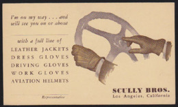 U.S.A. (1930) Gloved Hands On Steering Wheel. Illustrated 1c Postal Card Advertising Scully Brothers Leather Jackets, Dr - 1921-40