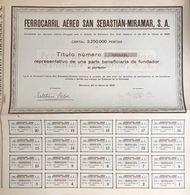 FERROCARRIL AEREO SAN SEBASTIAN-MIRAMAR S.A. BARCELONA 23 03 1929 Cod.doc.284 - Agricoltura