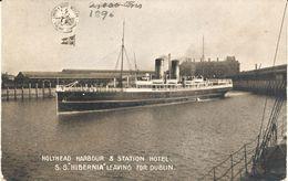 Postcard RPPC LNWR Steamer Ship SS Hibernia Holyhead To Dublin Ireland Sunk HMS Tara WW1 Unposted - Steamers