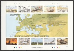N662 !!! IMPERFORATE GUYANA 50TH ANNIVERSARY OF WWII THEATER OF WAR 1944 1SH MNH - 2. Weltkrieg