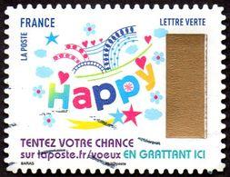 Oblitération Moderne Sur Autoadhésif De France N° 1493 - Voeux, Happy - Adhésifs (autocollants)
