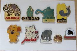 Lot De 9 Pin's,Animaux, Elephant, Elefant, Mammouth - Animals