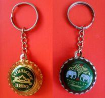 Key Chain Beer Bottle Cap Thailand + Russia Handmade #2 - Beer