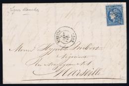 France  Complete Lettre Yv 46 GC 5051 ORAN Algérie A Marseille - 1870 Uitgave Van Bordeaux