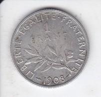 MONEDA DE PLATA DE FRANCIA DE 1 FRANCO DEL AÑO 1908 (COIN) SILVER-ARGENT - Francia