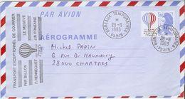 France 1983 - AER 1010 - Liberté De Gandon - Aérogramme Transporté Par Ballon Le Megève - Cachet Bureaux Temporaires - Entiers Postaux