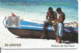 Télécarte De MADAGASCAR - Pêcheurs Du Sud Ouest ( 50U SC7 200 000 Ex.) - Madagascar