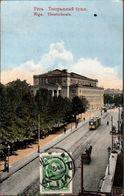 ! Alte Ansichtskarte Riga, Theater, Straßenbahn, Tramway - Latvia