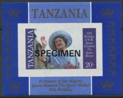 1951 - Tansania SPECIMEN Block Zum 85. Geburtstag Der Queen Elisabeth - Familles Royales