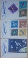 HX- Sharjah 1964 FDC - SATELLITES, Telecommunications Mi. 54A-60A Cplete Set 7v. + Block 4 - 3 Covers - Sharjah