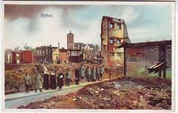 08. RETHEL . MILITARIA . CARTE ALLEMANDE . GUERRE 1914.1918. RUINES . ANIMEE . SOLDATS ALLEMANDS . - Rethel