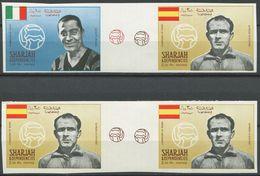 1953 - Sharjah Fussballer MEAZZA + DI STEFANO Ungezähnt Mit Zwischensteg !!! - Neufs