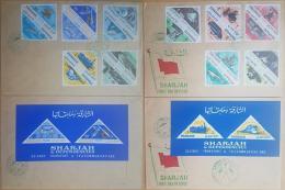 HX- Sharjah 1965 FDC - TRANSPORTATION & TELECOMMUNICATIONS Cplte Set 20v. + S/S Mi. 119A-138A+Blocks 12-13 - 2 Cover - Sharjah