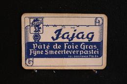 Playing Cards/Carte A Jouer/1 Dos De Cartes Avec Publicité / Jajag,Pâté De Foie Gras - Fÿne Smeerleverpastei - Oostende - Objets Publicitaires