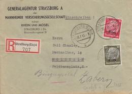 LETTRE ALSACE. RECOMMANDÉ STRASBOURG POUR MOLSHEIM REDIRIGEE SAVERNE - Elsass-Lothringen