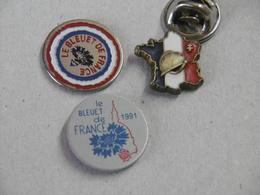 Pin's - Militaire - Lot De 3 Pin's Anciens Combattants Le Bleuet De France - Badges