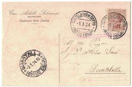 A125  Regno 1924 Cartolina Cav. A.Salvarani Da Castelnovo Di Sotto A Guastalla - 1900-44 Vittorio Emanuele III