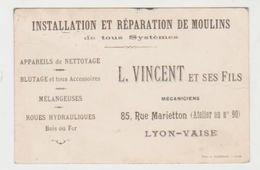 Carte Commerciale Ancienne  L. VINCENT Installation Et Réparation De Moulins   LYON - VAISE - Visiting Cards